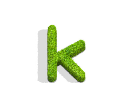 Grass letter K in lowercase format from top angle with shadow on ground. 3D illustration isolated on white background.