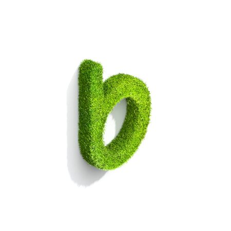 Grass letter B in lowercase format from isometric angle with shadow on wall, upright position. 3D illustration isolated on white background.