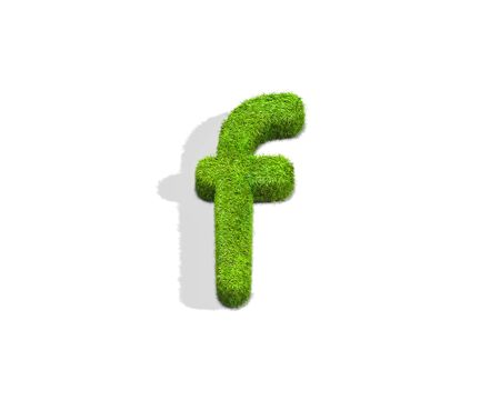 Grass letter F in lowercase format from top angle with shadow on ground. 3D illustration isolated on white background.
