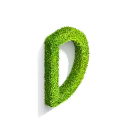 Grass letter D in uppercase format from isometric angle with shadow on ground. 3D illustration isolated on white background.