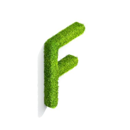 Grass letter F in uppercase format from isometric angle with shadow on ground. 3D illustration isolated on white background. Stock Photo