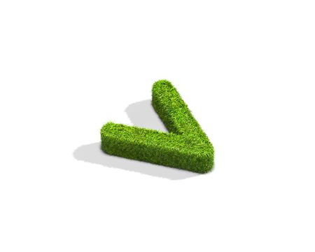 Grass letter V in lowercase format from isometric angle with shadow on ground. 3D illustration isolated on white background.