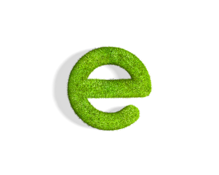 Grass letter E in lowercase format from top angle with shadow on ground, flat position. 3D illustration isolated on white background.