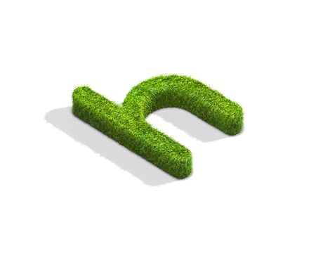 Grass letter H in lowercase format from isometric angle with shadow on ground, flat position. 3D illustration isolated on white background. Stock Photo