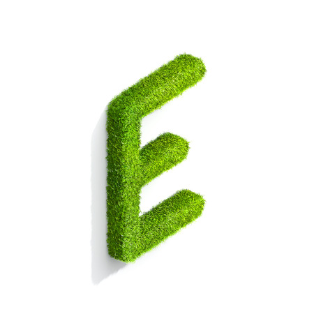 e white: Grass letter E in uppercase format from isometric angle with shadow on wall, upright position. 3D illustration isolated on white background.