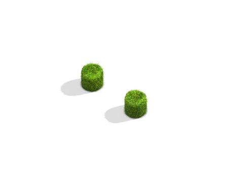 Grass colon punctuation mark from isometric angle with shadow on ground. 3D illustration isolated on white background. Stock Photo
