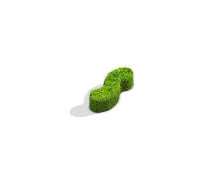 Grass tilde punctuation mark from isometric angle with shadow on ground. 3D illustration isolated on white background.