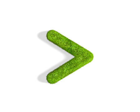 than: Grass greater than punctuation mark from isometric angle with shadow on ground. 3D illustration isolated on white background.