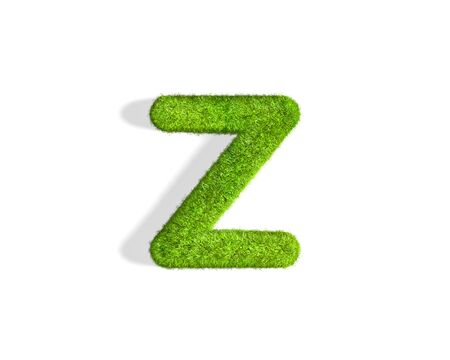 Grass letter Z in lowercase format from isometric angle with shadow on ground. 3D illustration isolated on white background.