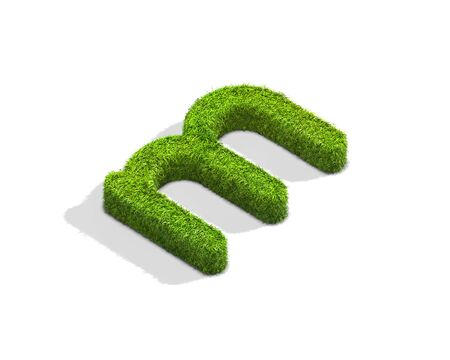 Grass letter M in lowercase format from isometric angle with shadow on ground. 3D illustration isolated on white background. Stock Photo