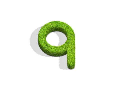 Grass letter Q in lowercase format from top angle with shadow on ground. 3D illustration isolated on white background.