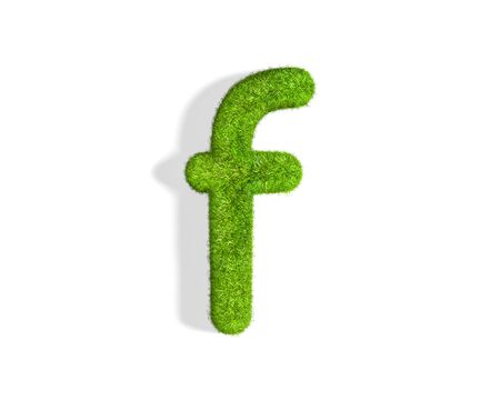 Grass letter F in lowercase format from isometric angle with shadow on ground. 3D illustration isolated on white background.
