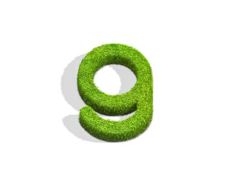 Grass letter G in lowercase format from top angle with shadow on ground. 3D illustration isolated on white background. Stock Photo