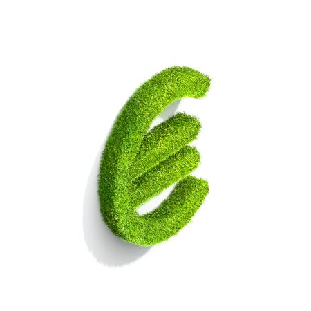 symbol. punctuation: Grass euro punctuation mark from isometric angle with shadow on ground. 3D illustration isolated on white background. Stock Photo