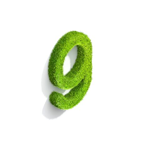 Grass letter G in lowercase format from isometric angle with shadow on ground. 3D illustration isolated on white background.