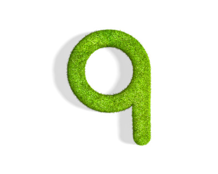 Grass letter Q in lowercase format from isometric angle with shadow on ground. 3D illustration isolated on white background.