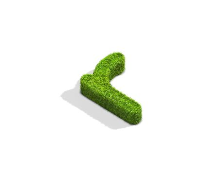 greenery: Grass letter R in lowercase format from isometric angle with shadow on ground. 3D illustration isolated on white background. Stock Photo