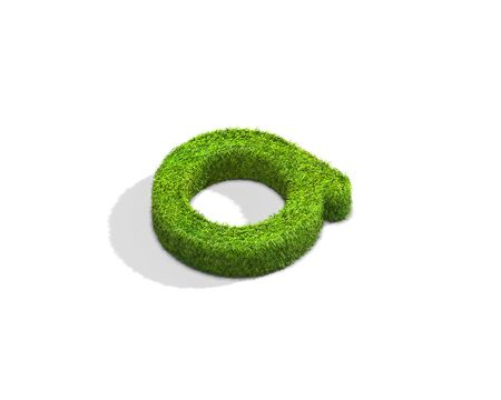Grass letter A in lowercase format from isometric angle with shadow on ground. 3D illustration isolated on white background.