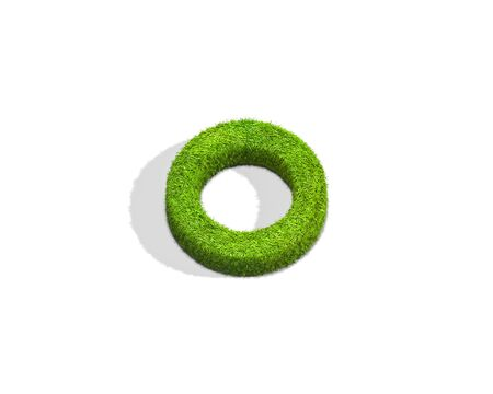 Grass letter O in lowercase format from top angle with shadow on ground. 3D illustration isolated on white background.
