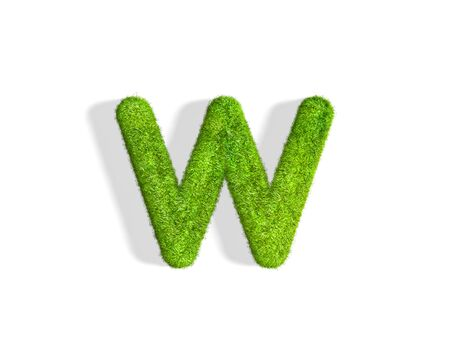 Grass letter W in lowercase format from isometric angle with shadow on ground. 3D illustration isolated on white background.