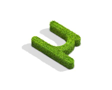 Grass nano punctuation mark from isometric angle with shadow on ground. 3D illustration isolated on white background.