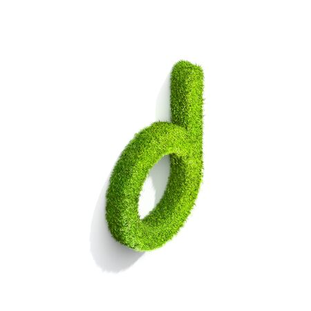 Grass letter D in lowercase format from isometric angle with shadow on ground. 3D illustration isolated on white background. Stock Photo