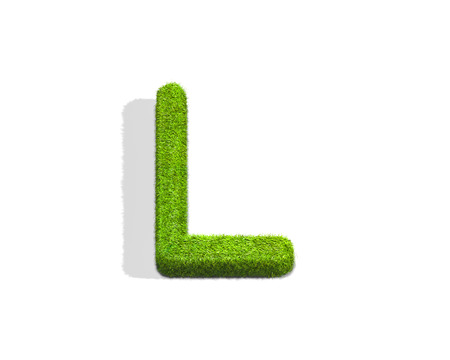 Grass letter L in uppercase format from top angle with shadow on ground. 3D illustration isolated on white background.