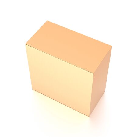 Brown corrugated cardboard box from top side closeup angle. Blank, vertical, and rectangle shape. 3D illustration isolated on white background.