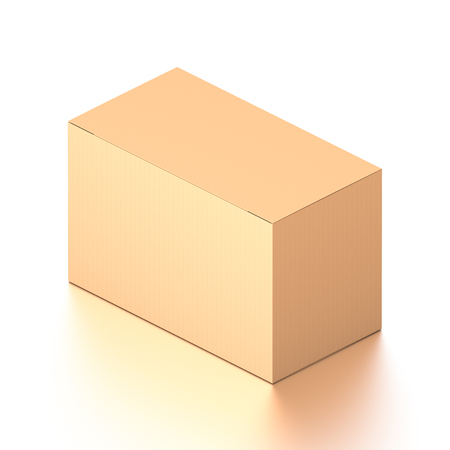 Brown corrugated cardboard box from isometric angle. Blank, horizontal, and rectangle shape. 3D illustration isolated on white background.
