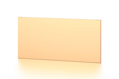 Brown corrugated cardboard box from top front far side angle. Blank, horizontal, thin, and rectangle shape. 3D illustration isolated on white background. Stock Photo