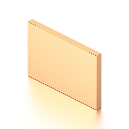 Brown corrugated cardboard box from isometric angle. Blank, horizontal, thin, and rectangle shape. 3D illustration isolated on white background.