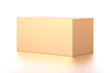 Brown corrugated cardboard box from side angle. Blank, horizontal, and rectangle shape. 3D illustration isolated on white background.