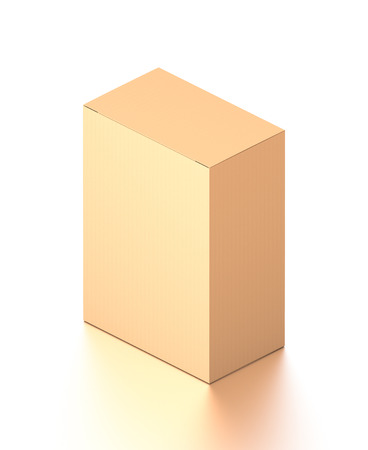 Brown corrugated cardboard box from isometric angle. Blank, vertical, and rectangle shape. 3D illustration isolated on white background.