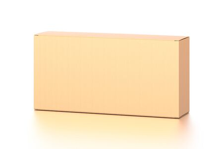 Brown corrugated cardboard box from top front far side angle. Blank, horizontal, and rectangle shape. 3D illustration isolated on white background. Reklamní fotografie