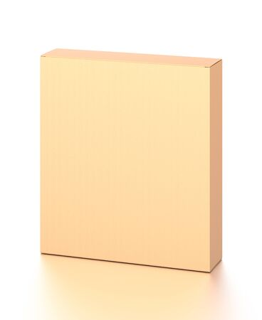 Brown corrugated cardboard box from top front far side angle. Blank, vertical, and rectangle shape. 3D illustration isolated on white background.