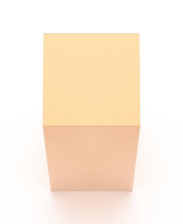Brown corrugated cardboard box from top angle. Blank, vertical, tall, and rectangle shape. 3D illustration isolated on white background.