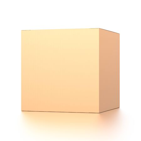 Brown corrugated cardboard box from front far side angle. Blank, cube and square shape. 3D illustration isolated on white background.