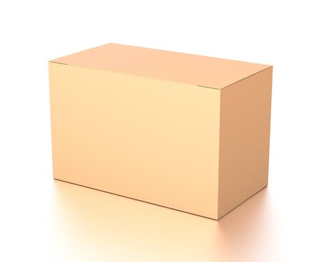 Brown corrugated cardboard box from top side angle. Blank, horizontal, and rectangle shape. 3D illustration isolated on white background.