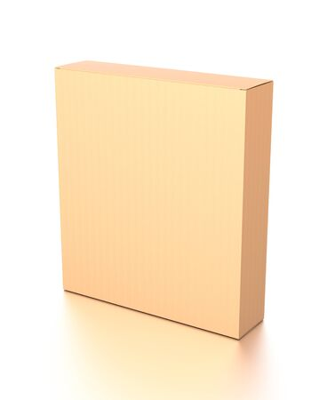 Brown corrugated cardboard box from top side angle. Blank, vertical, and rectangle shape. 3D illustration isolated on white background.