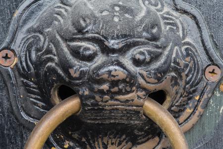 Chinese lion door knob photo
