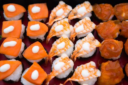 soysauce: delicious sushi on  background