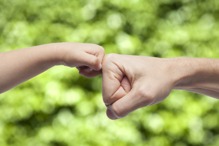 paternity: Father and son punching fistshands for agreement on green nature background