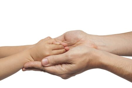 manos: father and son holding hands on white background. isolated