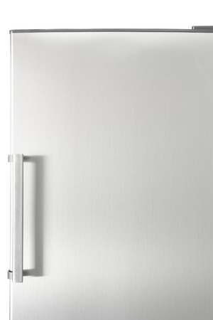fridge: Silver fridge door with handle, with free space for text