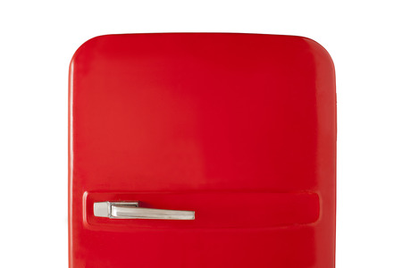 good looking model: Old red vintage refrigerator isolated on white background