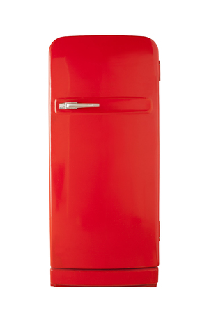 refrigerator with food: Old red vintage refrigerator isolated on white background