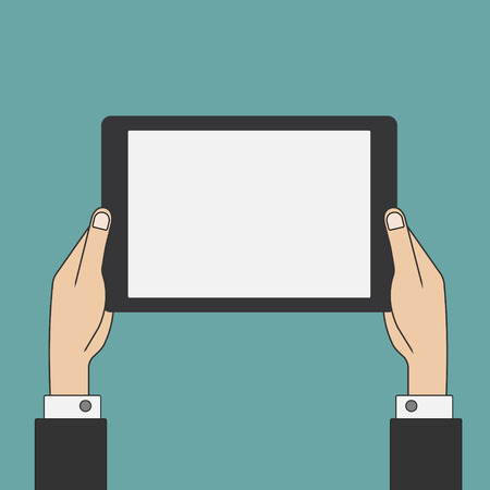 holing: Hands holing tablet pc with blank screen illustration.