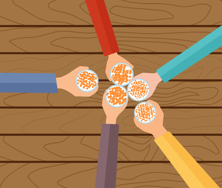 beers: Vector Concept Illustration. Five Hands Holding Beers Making A Toast. Wooden Table.