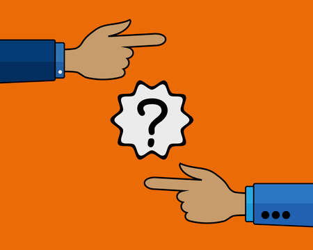 different directions: Two Hands ON Orange Background Pointing In Different Directions. Illustration