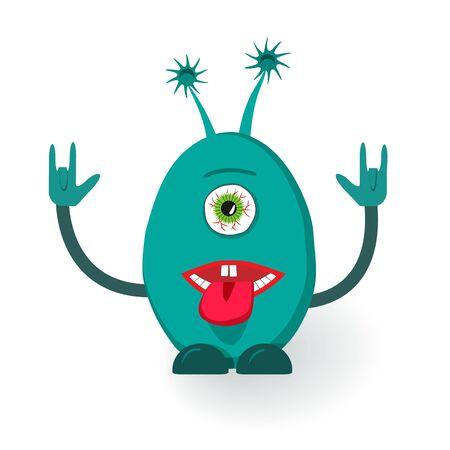 ugly gesture ugly gesture: Vector monster giving the devil horns gesture.